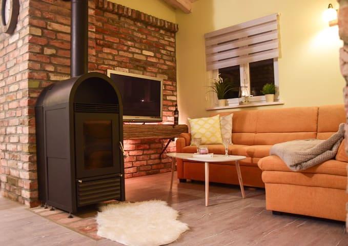 Wohnzimmer mit Kamin, Schlafsofa und TV