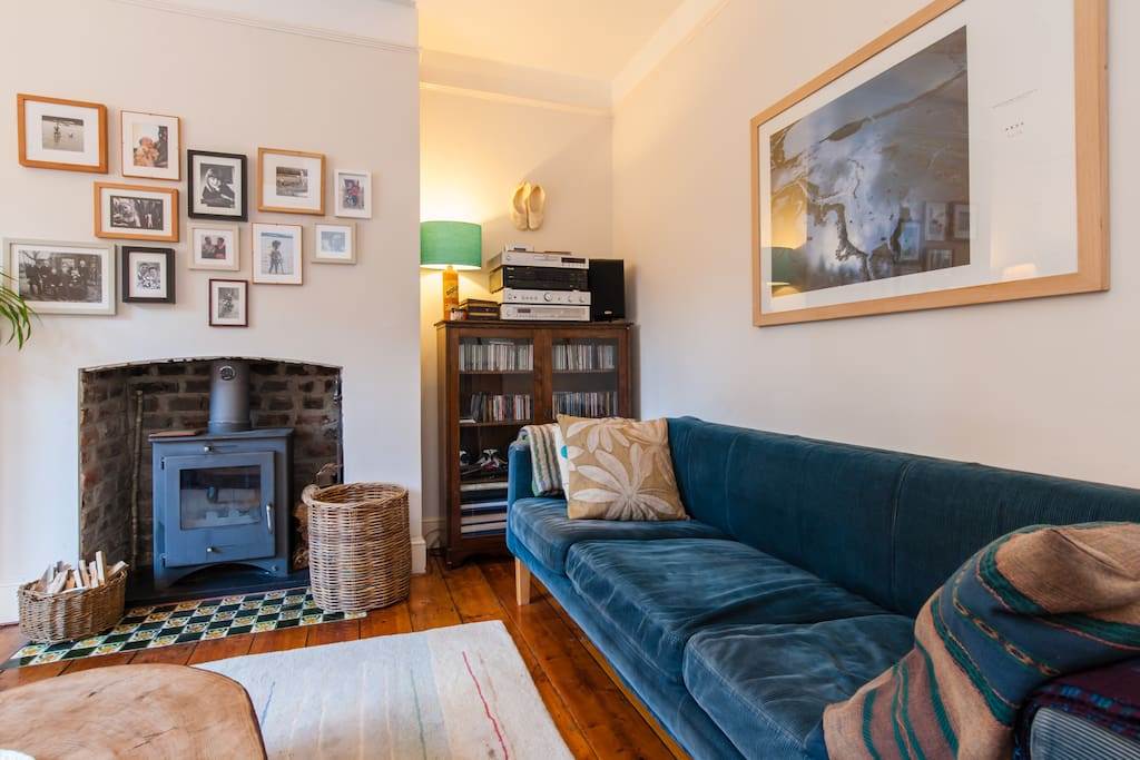 Our cosy living room with wood burning stove