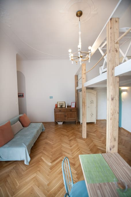 Living room with open mezzanine