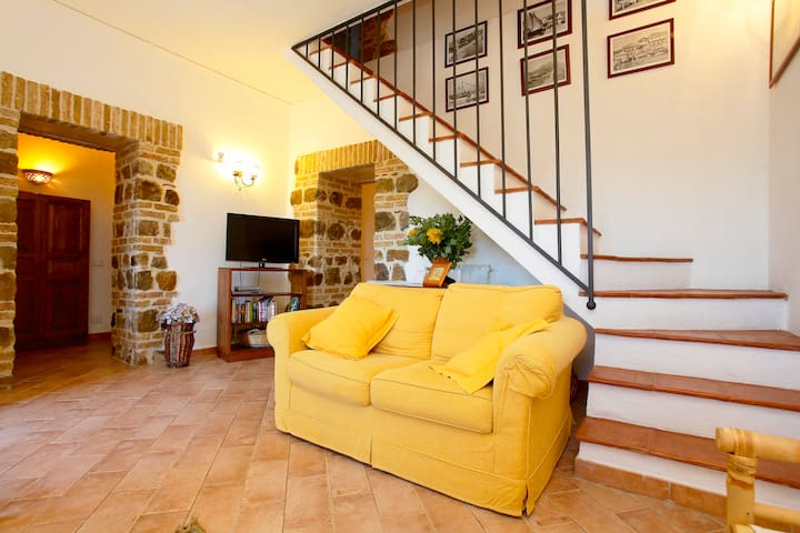 ground floor living room and staircase