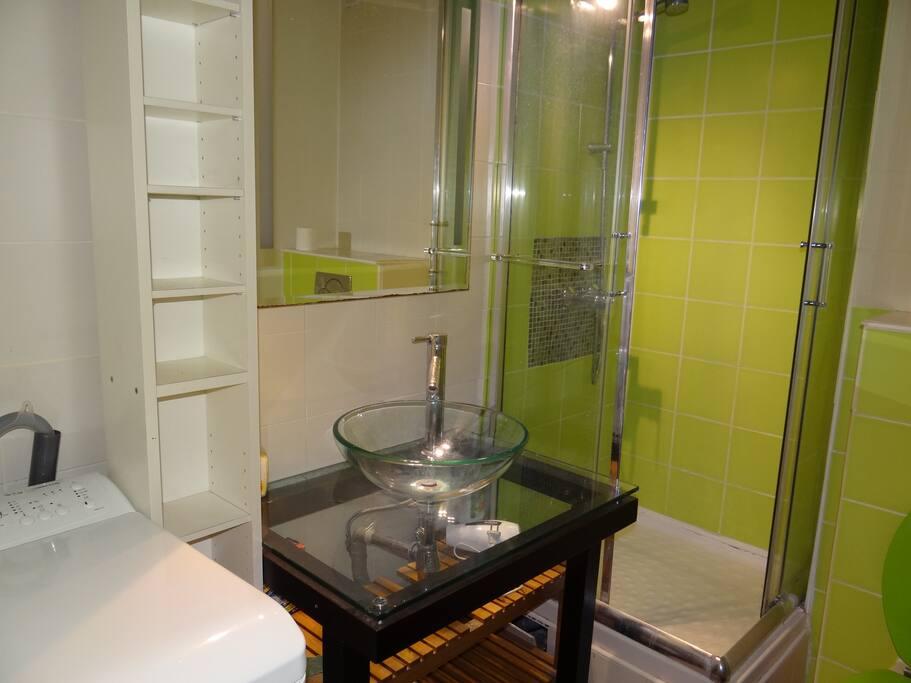 la salle de douche avec lave linge