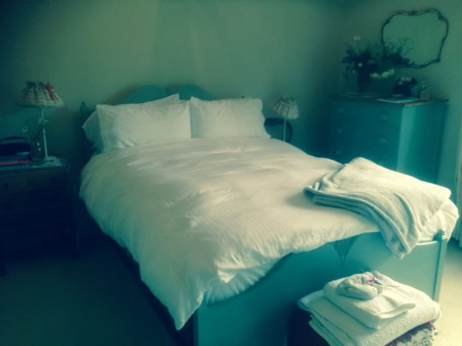 air dried sheets and thick duvets.  hot water bottles if cold!!