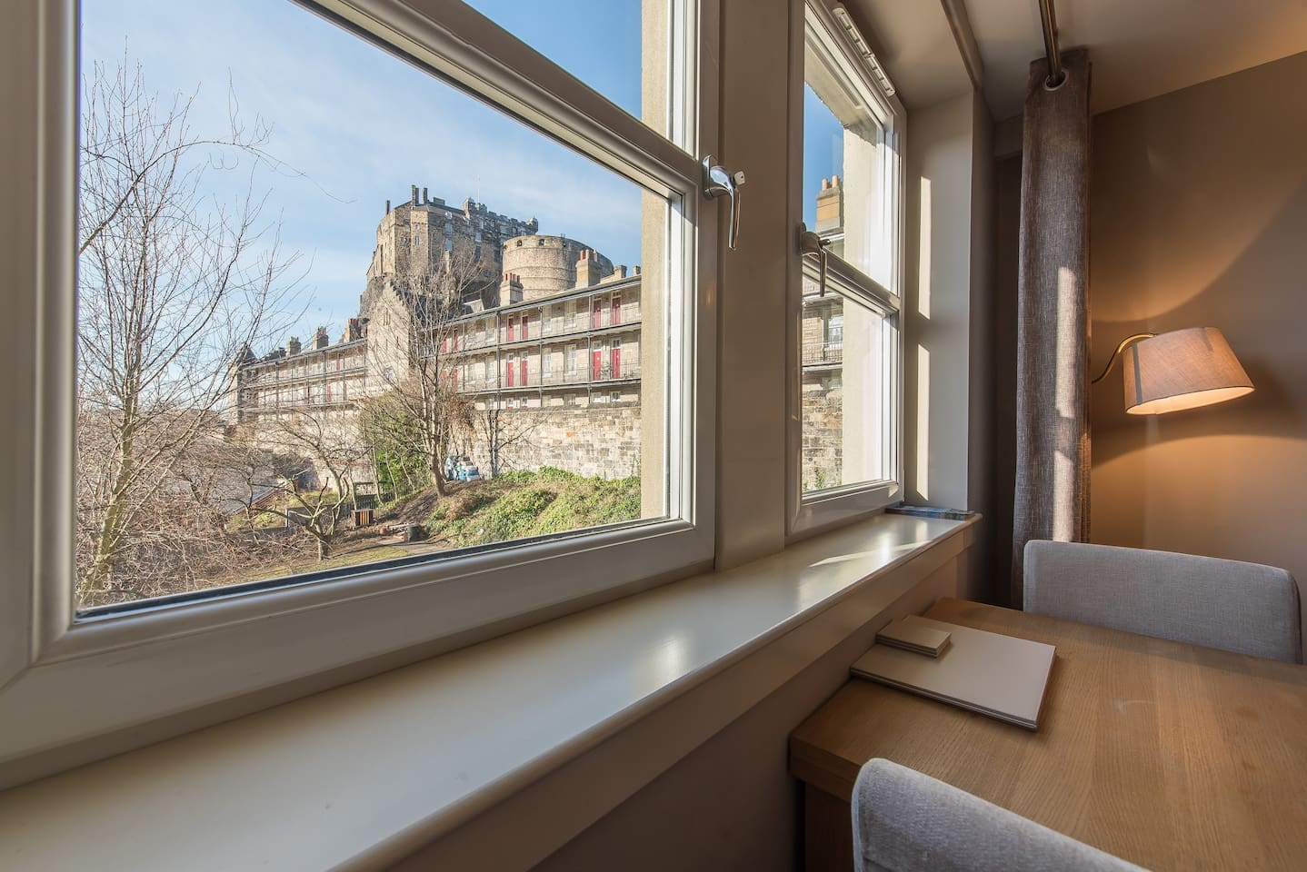 The view of Edinburgh Castle from the living room.