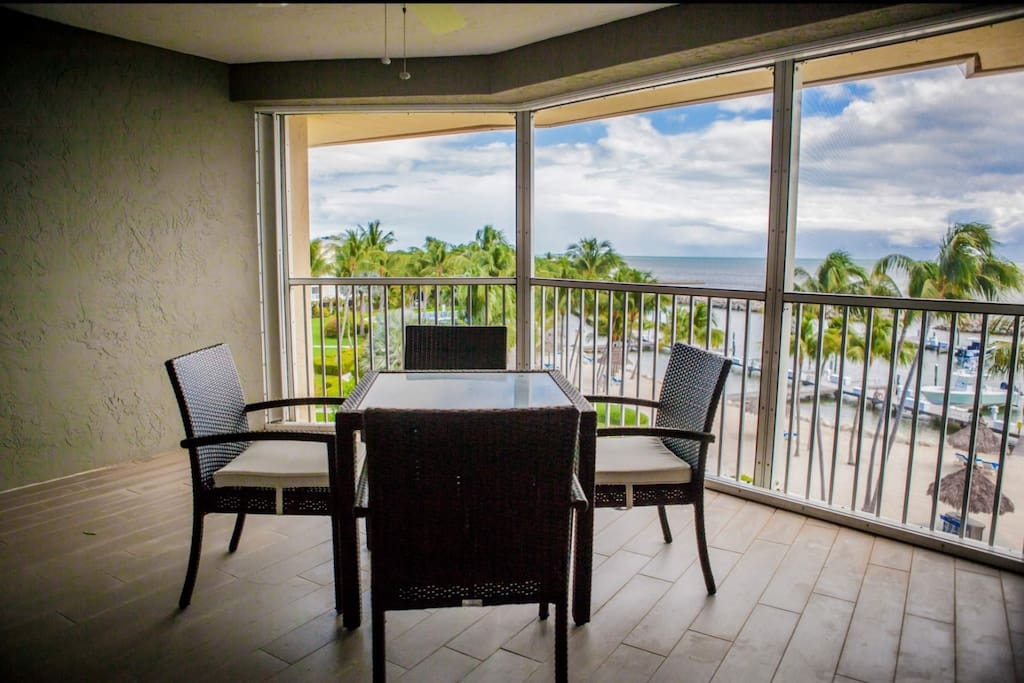 Oceanfront views from the private, screened balcony