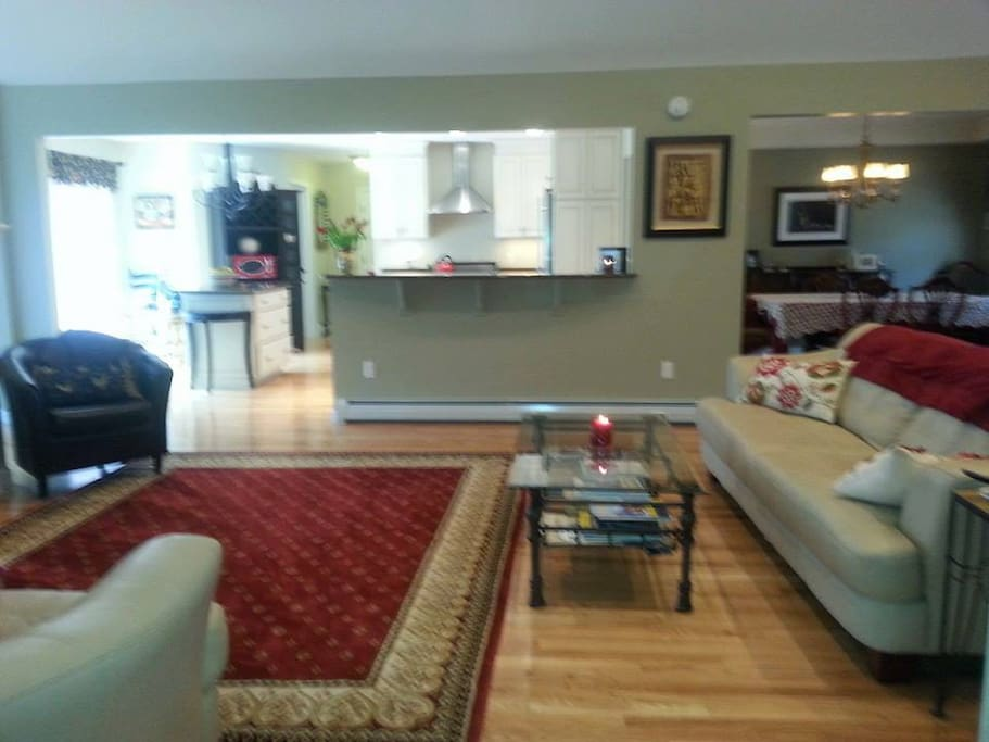 Spacious open concept living in bright sunshine- Double Sided Fireplace
