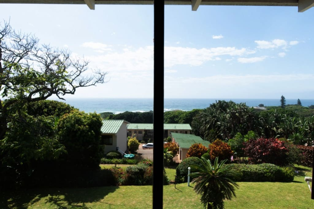 view of the ocean and gardens from the lounge