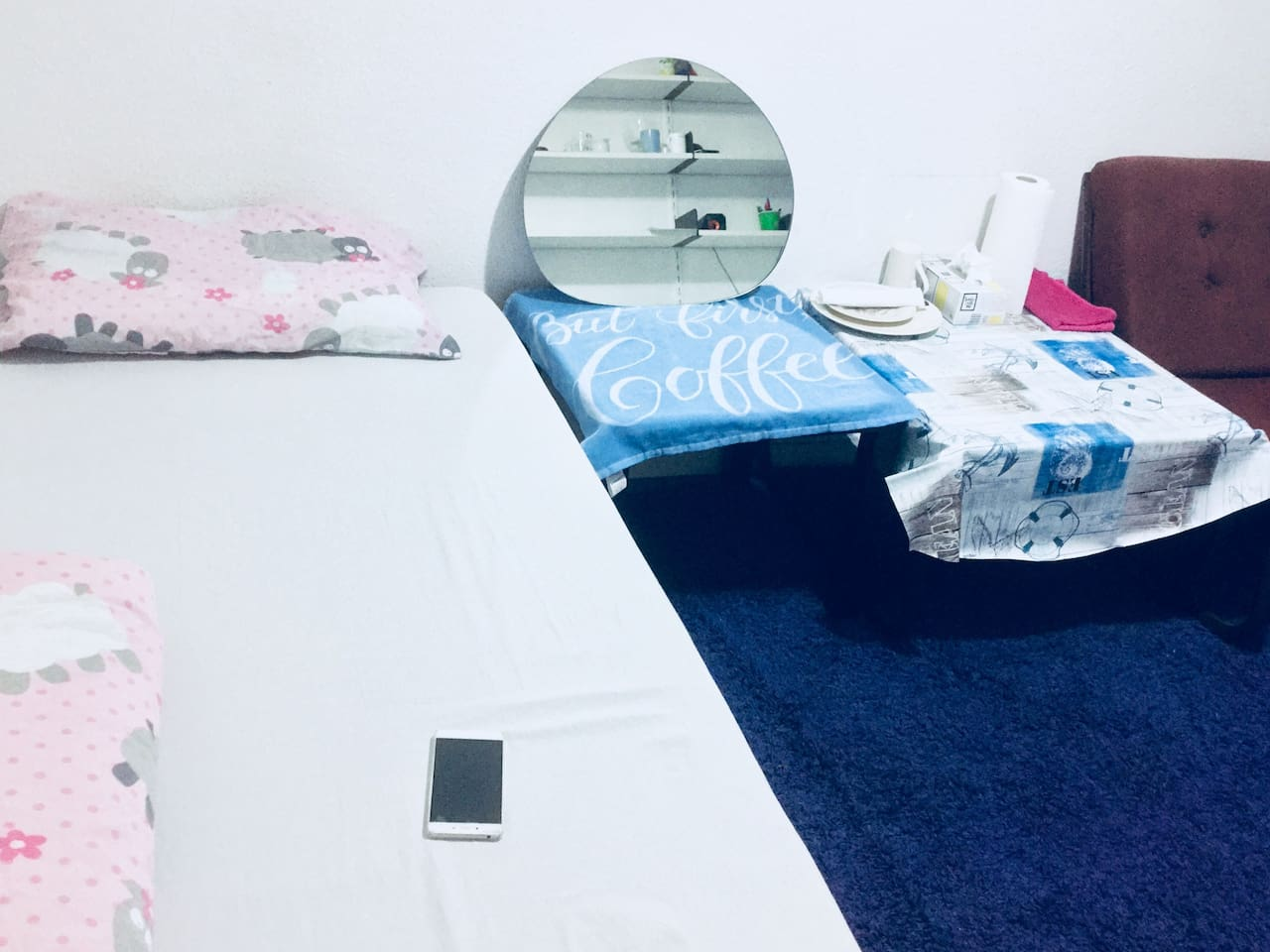 Cleaned bed sheet with pillow (Extra pillow)