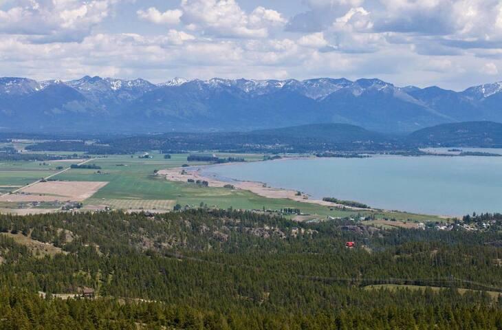 Enjoy the views of Flathead Lake, the Swan Mountains, and Flathead Mountains