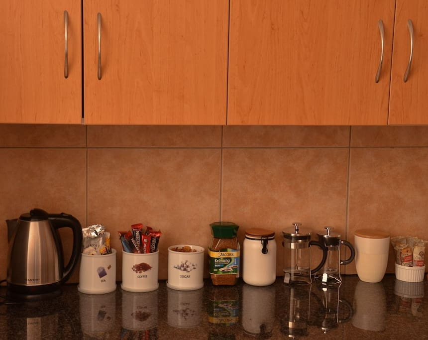 The complimentary tea and coffee station will get you going for the day whether its instant, filter coffee or a cup of tea. The fridge is stocked with fruit, yoghurt and milk.