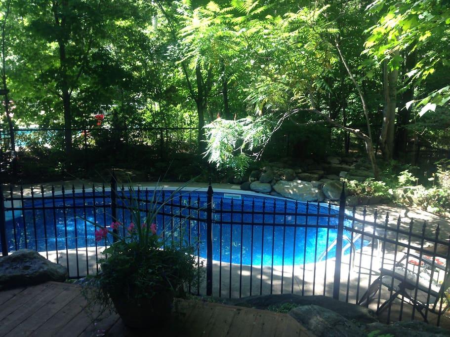 Grand patio avec BBQ et ayant vue sur la piscine