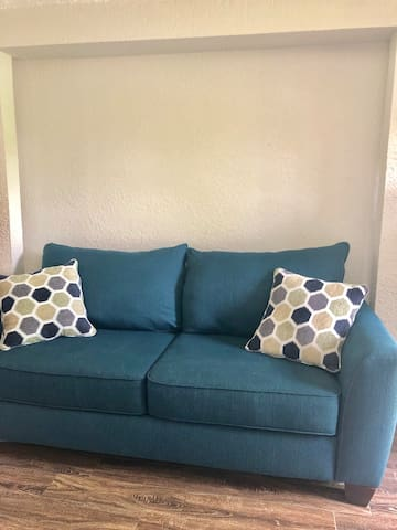 Full sleeper pull out couch. Sleeps 2. We also have a futon in the home that becomes a full and sleeps 2 comfortably. Fresh, clean linens and pillows provided.