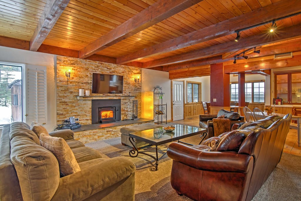 Relax on the comfortable sofas as you warm up in front of the wood-burning fireplace.