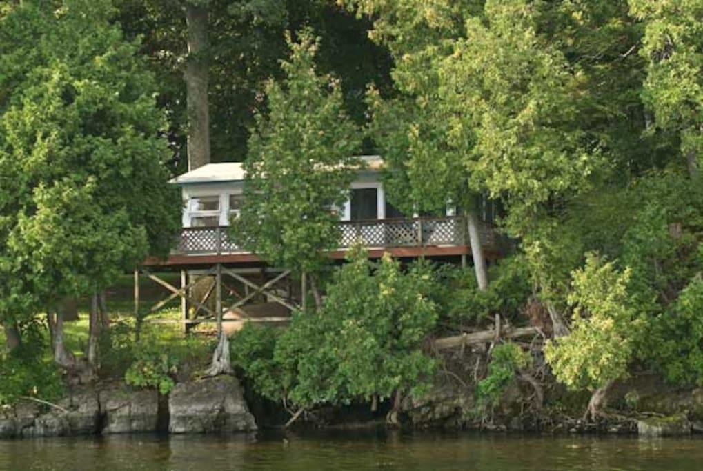 View of cabin from the Lake.