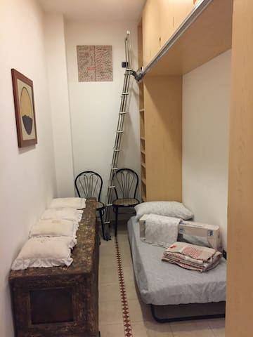 Fifth (5th) place foldable guest bed IKEA SWNSKA in the corridor