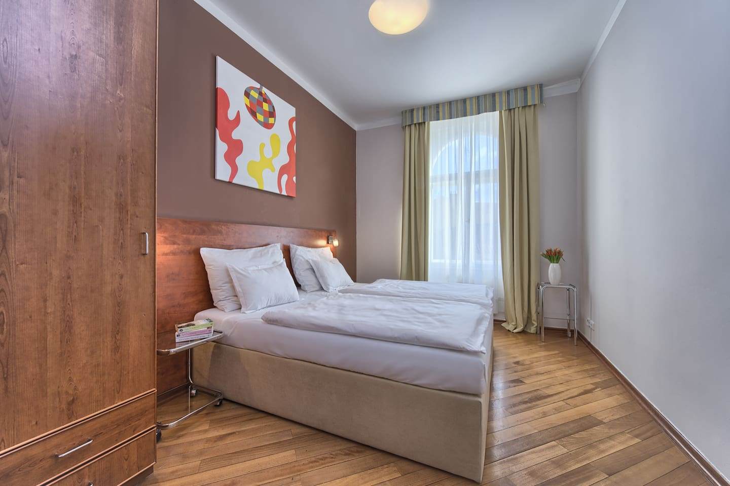 Comfortable bedroom with king-sized double bed