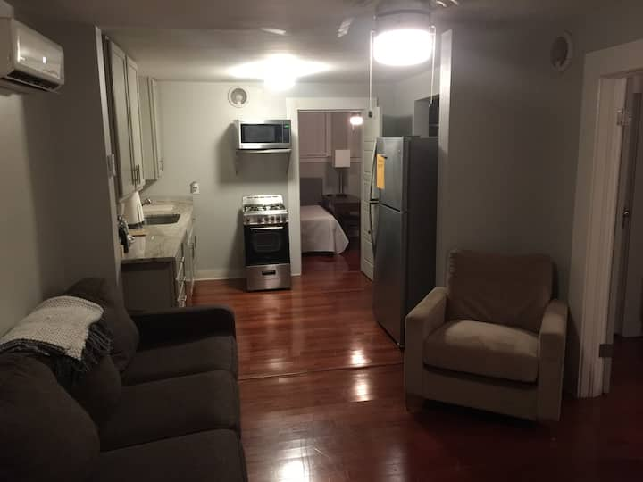 Lower level fully furnished midtown apartment.