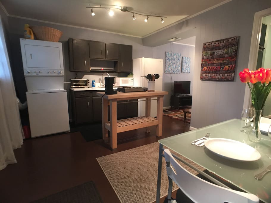 Fully stocked kitchenette and washer/dryer ready for your use!