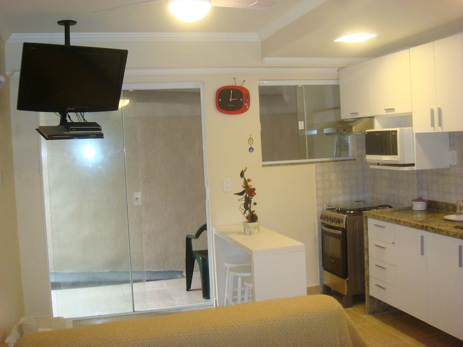 Cozinha e sala de estar Conceito Aberto.