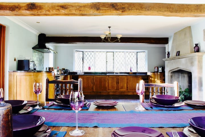 A view of the kitchen from the dining Table.