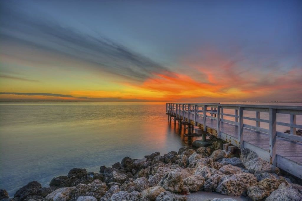 sunset from fishing pier