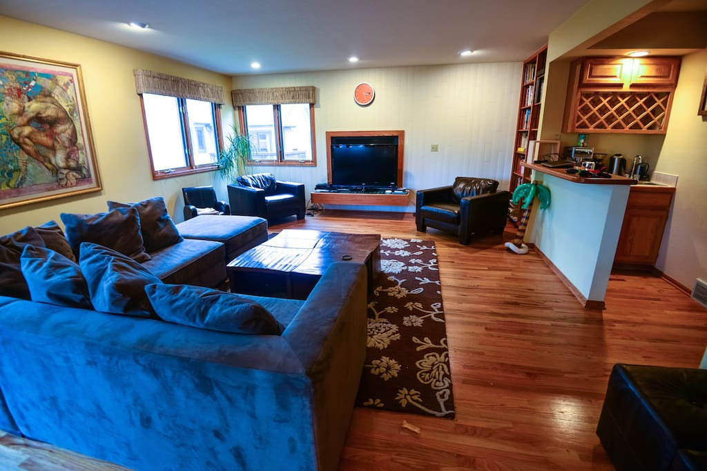 Family room with coffee bar and TV