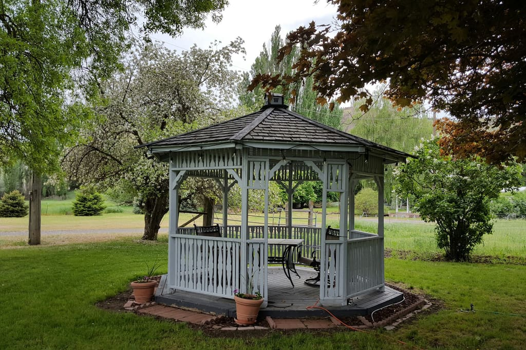 Sit out in the gazebo  during the day and have a cool drink. Or sit under the     Have a early morning  breakfast enjoying the birds talking. Or sit and have a cool drink and rest. Then in the evening share a glass of wine together.  our gazebo  that we had built for our sons wedding  14 years ago. my husband  loves to decorate it through the year with different colored lights throughout the year so depending on when your here you will always get a light show. But Christmas  will always be my favorite.