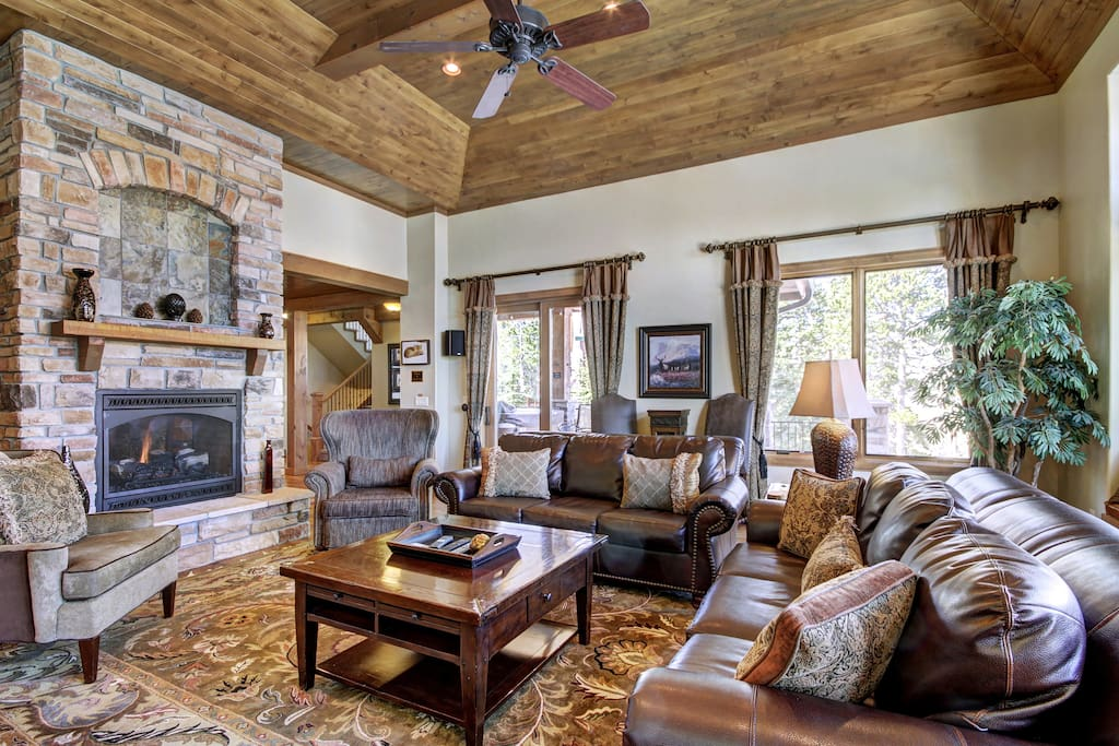 Relax in the living area by the gas fireplace