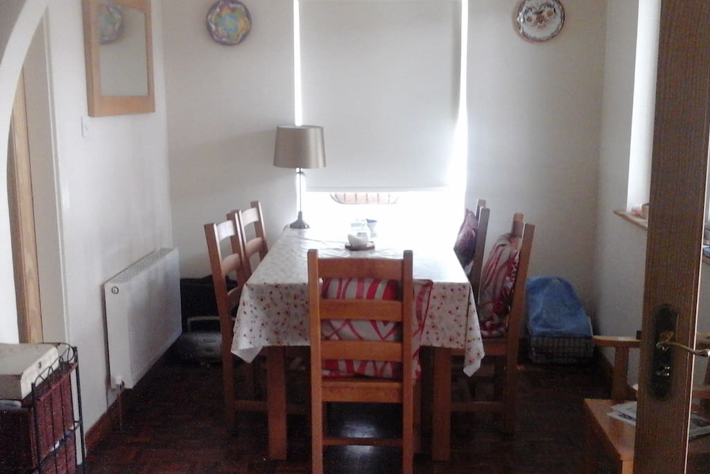Shared dining table in Kitchen area.