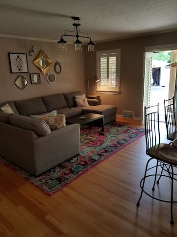 Large family room; sliding doors to patio