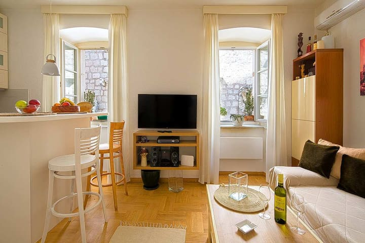Living room - cable TV - music box- air conditioning - Heater - kitchen tables Wine and fruits used for advert only-not included