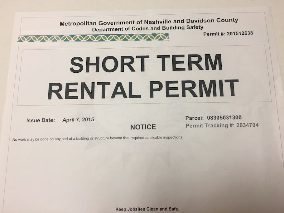 This is a legal short-term rental in Nashville, TN.