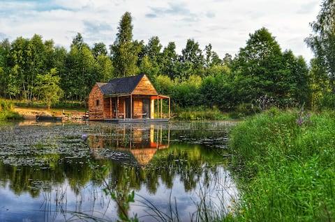 heidehütte, Ferienhaus auf einem Teich + 2 Hektar Fläche