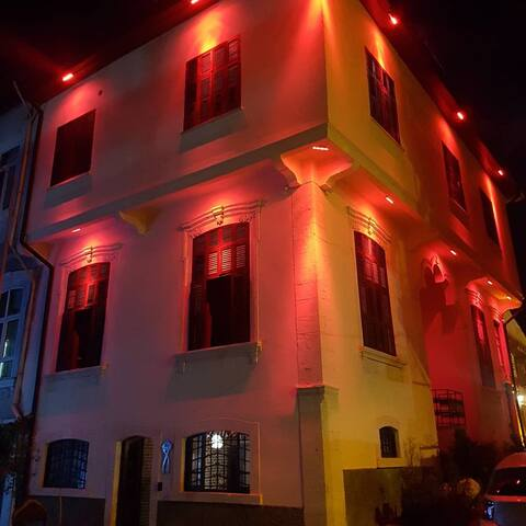 Fi Hostel building at night