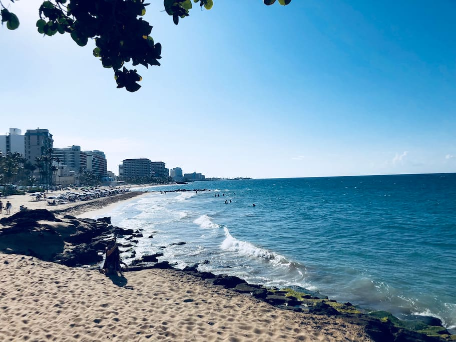 Take a short walk down the street to have all the fun in the sun. Enjoy your favorite book while laying on this beautiful beach, while you feel the sweet tropical breeze of Puerto Rico!