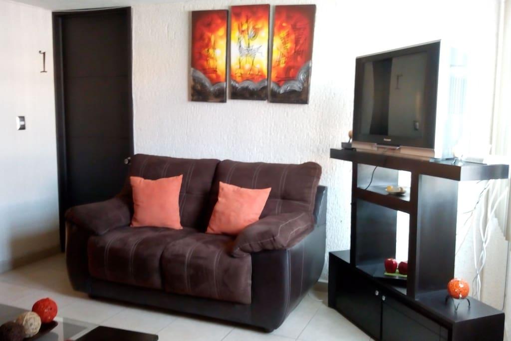 Televisión en área de sala, cuenta con servicio de cable e internet