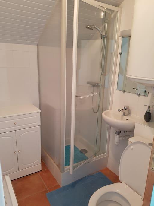 La salle de bain de l'appartement, près de la chambre