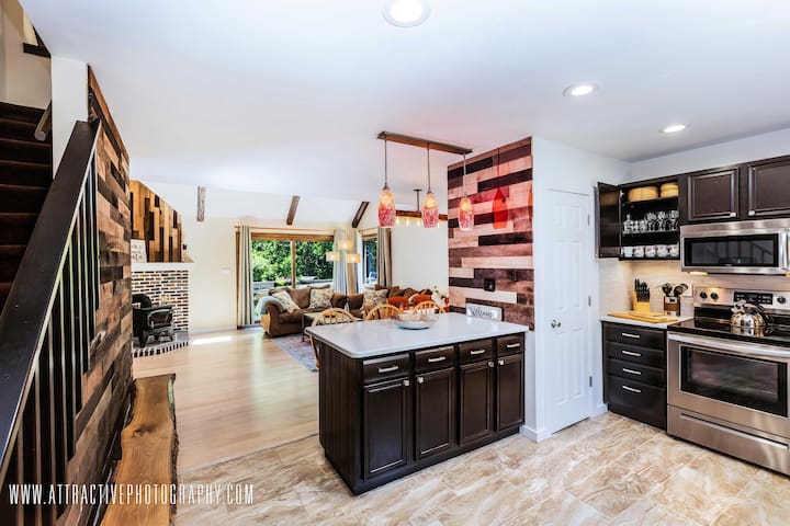 Newly renovated kitchen with open, social layout
