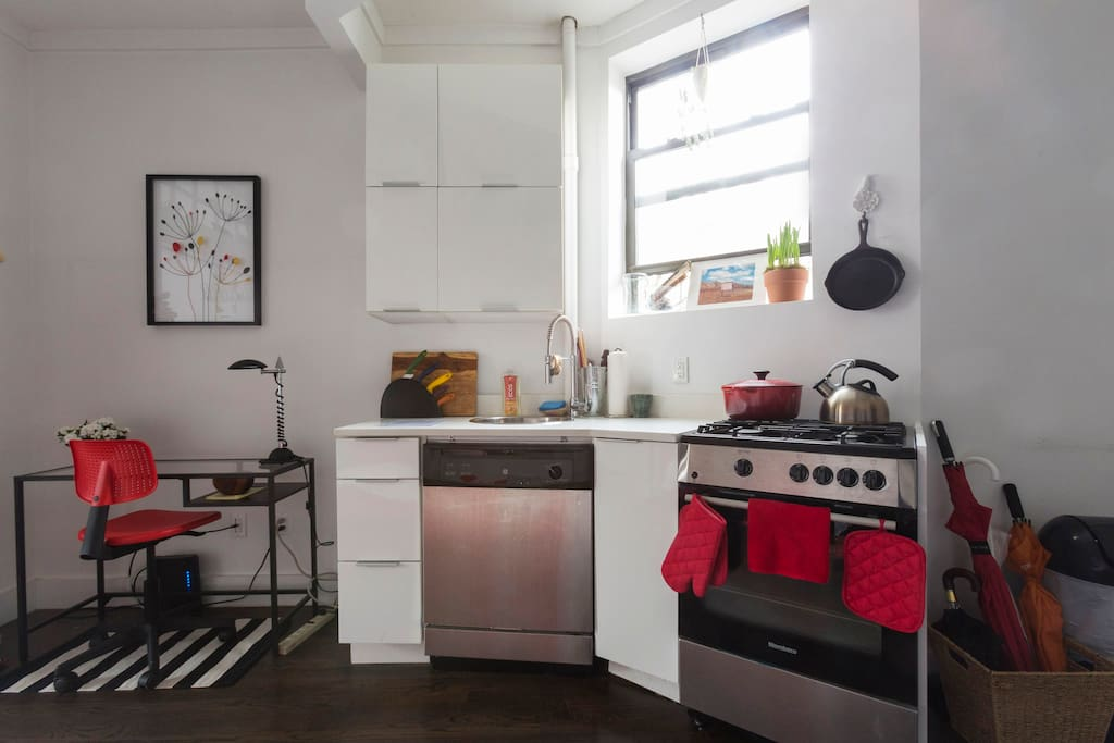 All New kitchen appliances: Dish washer, stove, oven, fridge. Fully Stocked with wares.