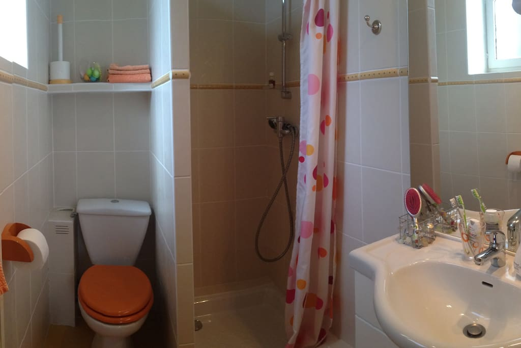 Salle de bain pratique, attenante à la chambre
