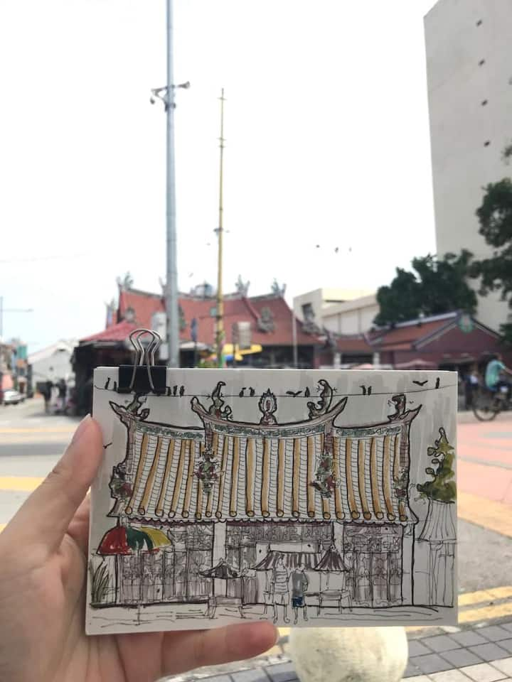 Quick sketch of Goddess of Temple Penang