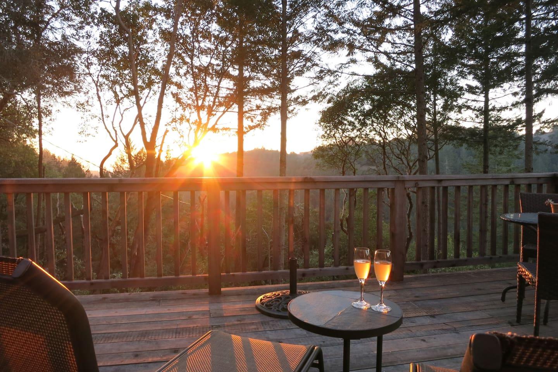 Enjoy sunset while lounging at Modern & Hip Cabin