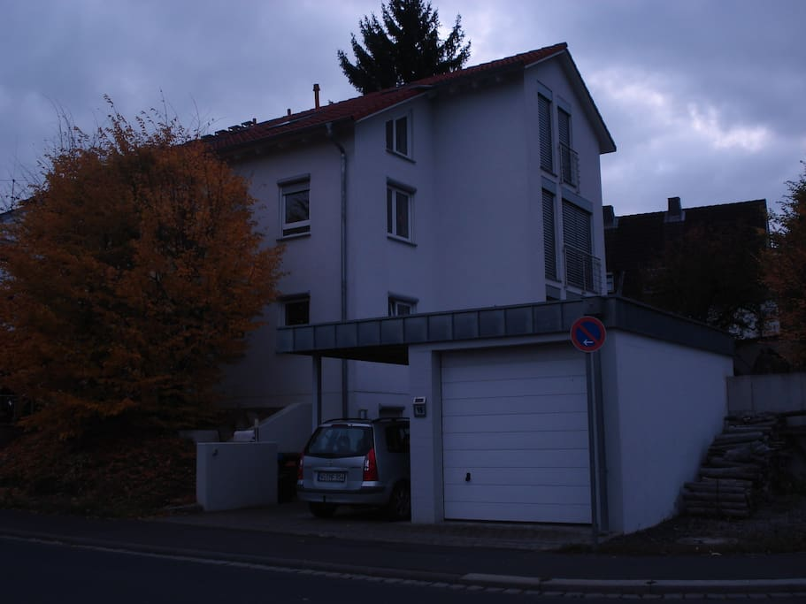 my house in Würzburg on Eisenbahnstraße, garage and car port used by me, but on the space to the right of the garage you can park your car off the street. new better picture at the end of this photo sequence