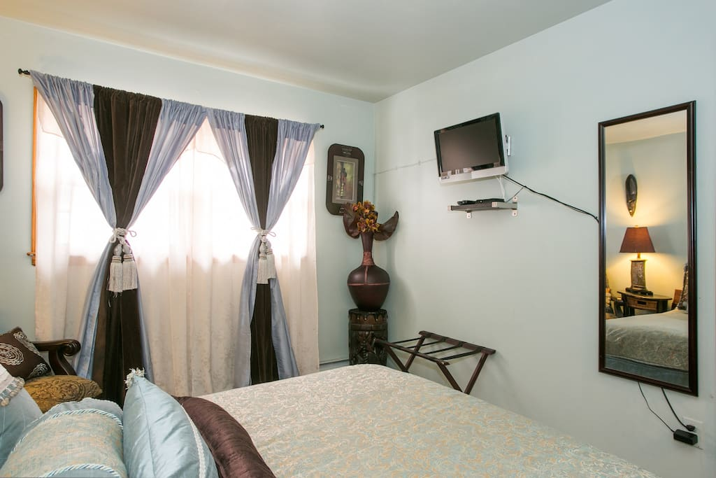 Room features an LCD TV with digital cable; CD/Clock Alarm radio; cozy closet and chest of drawers.