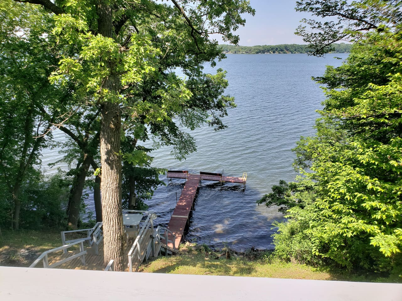 Watch your family fish and swim while you enjoy coffee from the deck.