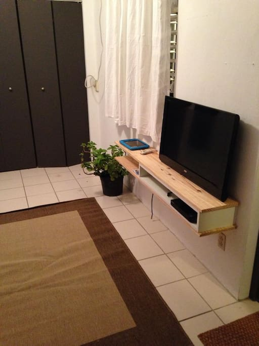 Living room with TV and smart DVD player, including cable, Netflix and facebook access.