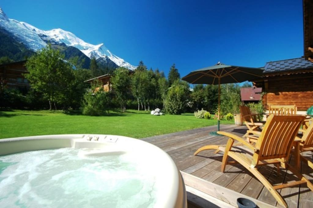Hot tub and terrace in summer
