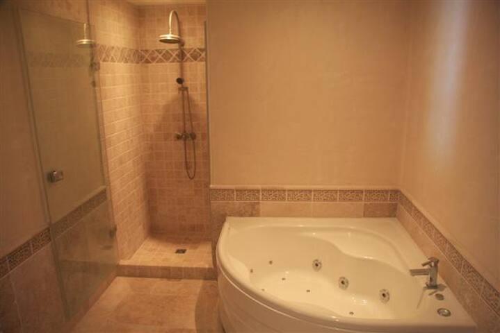 salle de bains équipée d'une baignoir à remous