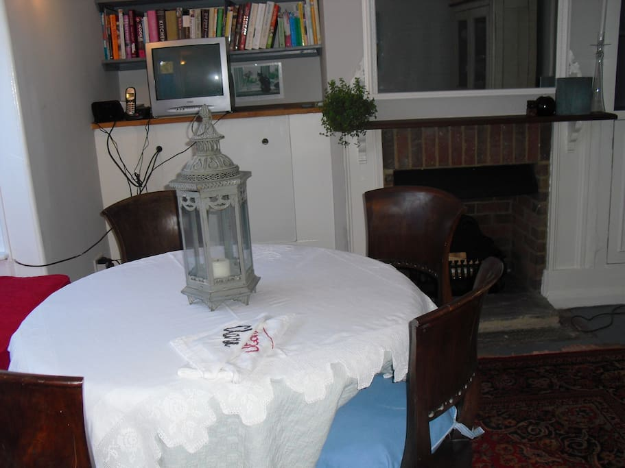 Dining room decorated in the style of the house Victorian cottage but with all mod cons