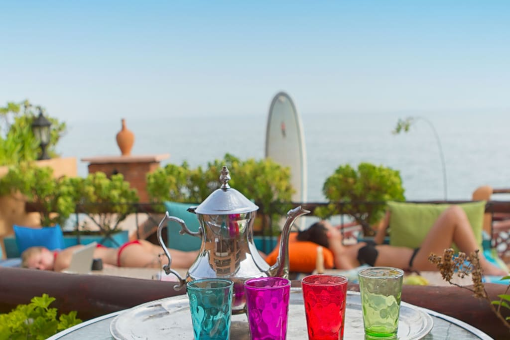 you can enjoy moroccan tea and food on the terrace downstairs