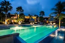 Spanish Water Resort by night